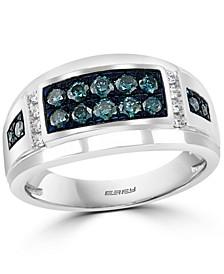 EFFY® Men's Blue Diamond (5/8 ct. t.w.) & White Diamond (1/10 ct. t.w.) Ring in 14k White Gold