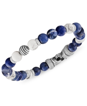 Sodalite & Howlite Bead Bracelet in Sterling Silver