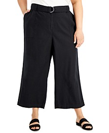 Plus Size Wide-Leg Belted Pants