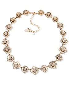 "Gold-Tone Pavé Openwork Flower Collar Necklace, 16"" + 3"" extender"