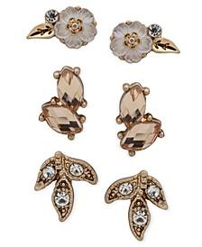 Gold-Tone 3-Pc. Set Crystal & Stone Flower Stud Earrings