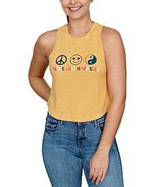 Trendy Plus Size Peace Love Happiness-Graphic Tank Top