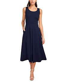 Solid Fit-And-Flare Midi Tank Dress