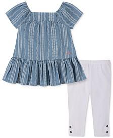 Baby Girls 2-Pc. Printed Chambray Top & Capri Leggings Set