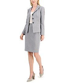 Petite Glazed Melange Three-Button Skirt Suit