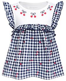 Baby Girls Gingham & Cherry Cotton Tunic, Created for Macy's