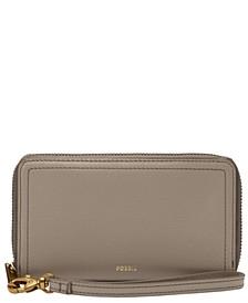 Logan Mid Size Zip Around Leather Wallet Wristlet