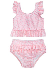 Baby Girls 2-Pc. Leopard-Print Swimsuit, Created for Macy's
