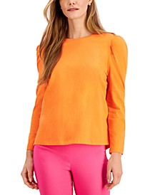 Petite Puff-Sleeve Cotton Top, Created for Macy's