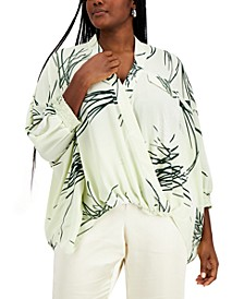 Plus Size Printed Crossover Top, Created for Macy's