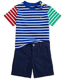 Baby Boys 2-Pc. Striped T-Shirt & Shorts Set