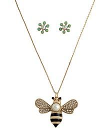 Bee Pendant Necklace Flower Stud Earrings Set