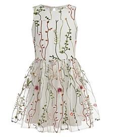 Big Girls Plus Mesh Garden Sleeveless Dress