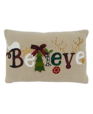"""Saro Lifestyle Pillows CHRISTMAS PILLOW COVER, 22"""" X 14"""""""