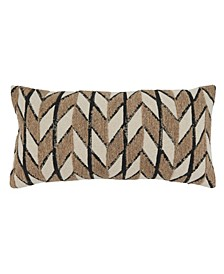"""Embroidered Throw Pillow, 24"""" x 12"""""""