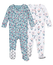 Baby Girls Floral Footed Pajama, 2 Pack