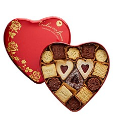 Assorted Gourmet Italian Cookies Red Heart Tin