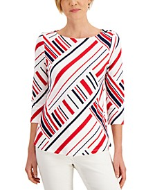 Petite Cotton Printed Boat-Neck Top, Created for Macy's