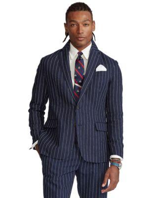 폴로 랄프로렌 Polo Ralph Lauren Mens Polo Striped Slub Linen Sport Coat,Navy/Cream