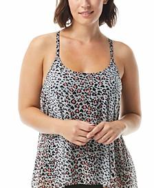 Leopard-Print Mesh Bra-Sized Tankini Top
