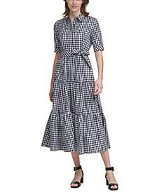 Plaid Tiered Maxi Dress