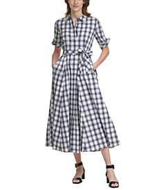 Plaid Belted Maxi Dress