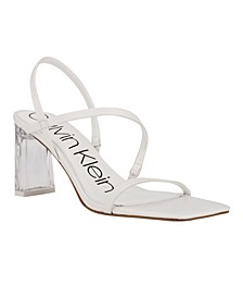 Women's Idina Strappy Clear Block Heel Strappy Dress Sandals