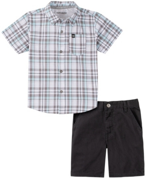 Calvin Klein TODDLER BOYS 2-PIECE PLAID SHORT SLEEVE SHIRT AND SOLID SHORTS SET