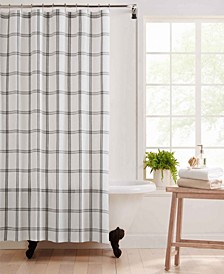 "Farmhouse Living Double Windowpane Plaid Fabric Shower Curtain, 72"" x 72"""