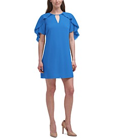 Chiffon Flutter-Sleeve Dress