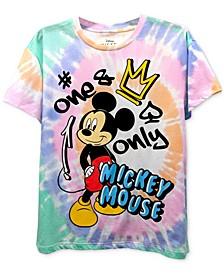 Juniors' Mickey Boyfriend Faux Tie Dye T-Shirt