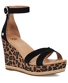 Women's Ezrah Leopard-Print Wedge Sandals