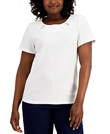 Petite Cotton Embellished Knit Top, Created for Macy's