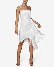 Faux-Wrap Fringe Bodycon Dress