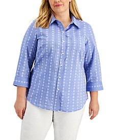 Plus Size Cotton Floral-Print  Top, Created for Macy's