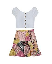 Big Girls Embroidered Skirt Set, 2 Piece