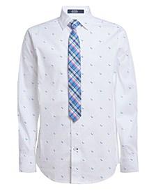 Big Boys Stretch TH Dot Print Shirt and Tie, 2-piece Set