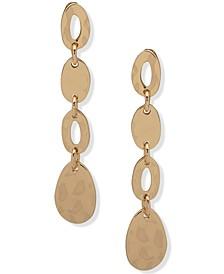 Gold-Tone Open & Closed Oval Linear Drop Earrings