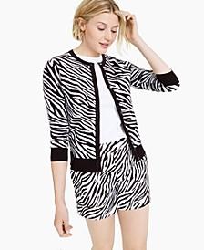 Petite Zebra-Print Cardigan, Created for Macy's