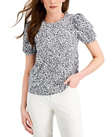 Cotton Printed Puff-Sleeve Top, Created for Macy's