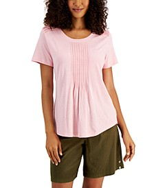 Pin-Tucked Scoop-Neck Top, Created for Macy's