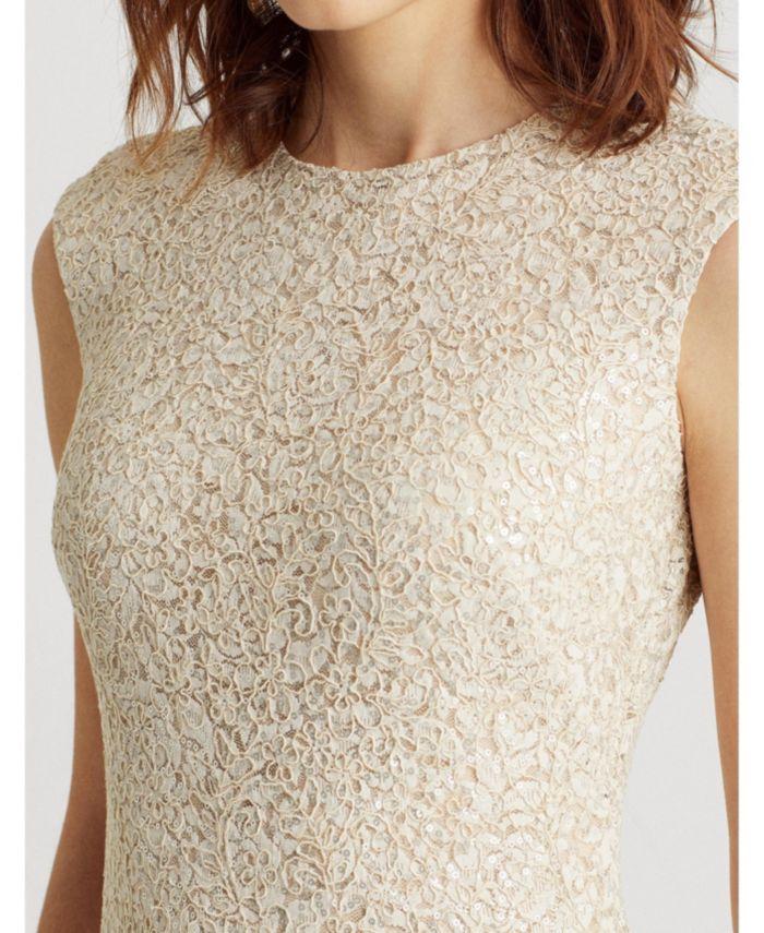 Lauren Ralph Lauren Sequined Lace Cap-Sleeve Dress & Reviews - Dresses - Women - Macy's