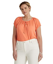 Plus-Size Stretch Jersey Peasant Top