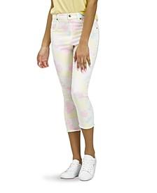 Women's Vapor Tie Dye Denim High Rise Capri Leggings