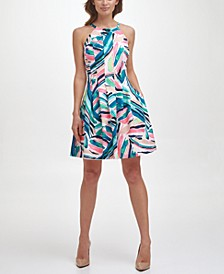 Petite Abstract-Print Fit & Flare Dress