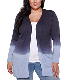 Copper Label Plus Size Women's Dip Dye Long Sleeve Cardigan