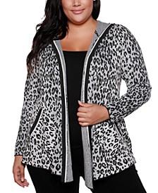 Copper Label Plus Size Women's Leopard Jacquard Open Hooded Cardigan