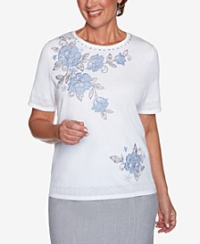 Women's Missy French Bistro Yoke Floral with Pointelle Sweater