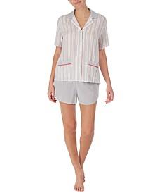 Notch Collar Top & Boxer Shorts Pajama Set