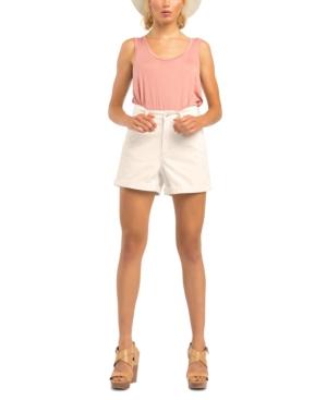 Stretch-Denim Cuffed-Hem Mom Shorts